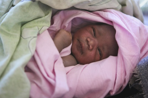Newborn daughter of Wilma Francis, in the Mvolo Primary Health